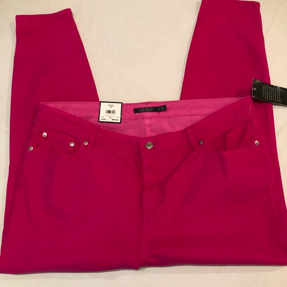 f9895ead LRL Stretch Skinny Cropped Jeans Plus Size Pink NWT
